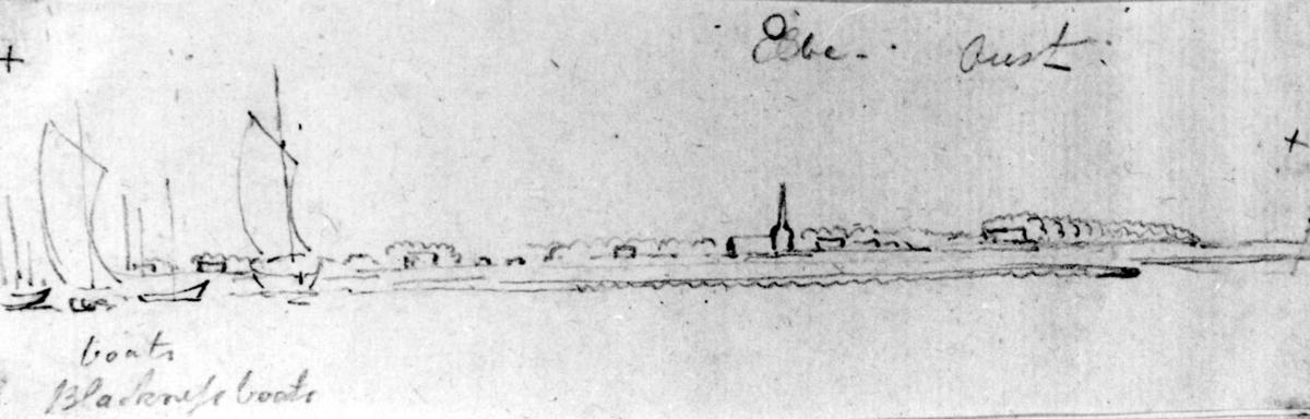 """ElbenFra skissealbum av John W. Edy, """"Drawings Norway 1800""""."""