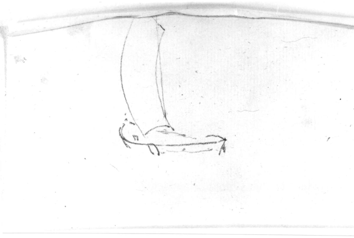 "BåtFra skissealbum av John W. Edy, ""Drawings Norway 1800""."