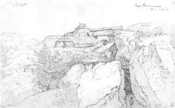 """JerngruveFra skissealbum av John W. Edy, """"Drawings Norway 1"""
