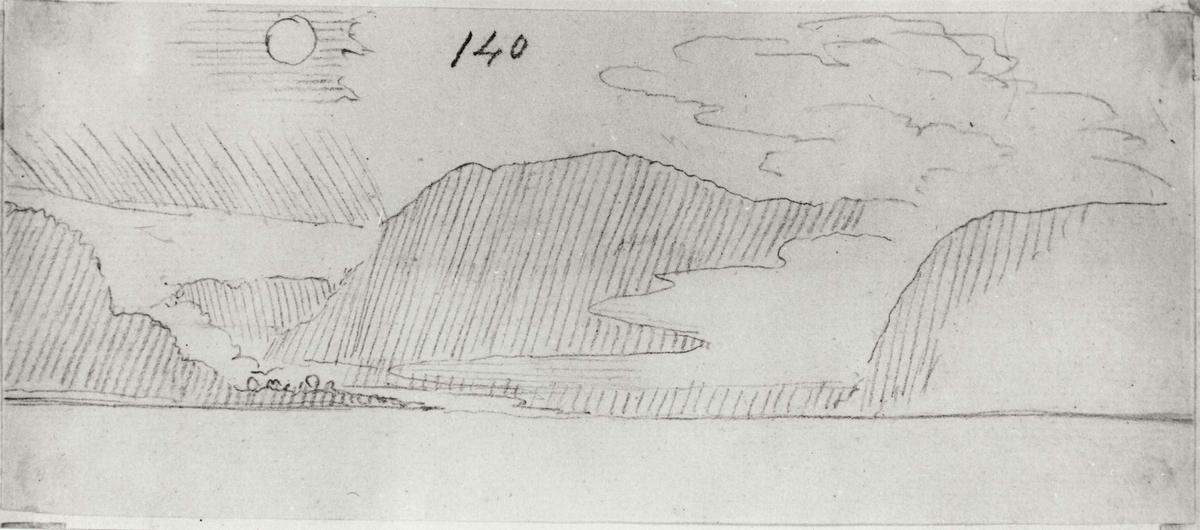 Oslofjorden. Kystlandskap med tåke. Blyantskisse av John Edy: Drawings, Norway, 1800. Skissealbum utlånt av Deichmanske bibliotek.