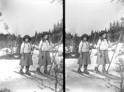Gudrun og Karen Q. Wiborg på ski på Holoa, Hadeland, Jevnake