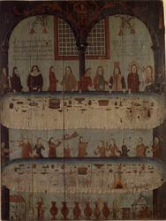 Høysetetavle med bibelsk motiv, bryllup i Kana.