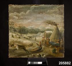 """Huvudliggare: """"Snölandskap från Lappland, oljemålning på duk, med lappar, renar och ackjor, en skrivare vid ett bord täckt med grön duk. Ink. i konsthandeln av givaren. 1700-tal? G. 1936 av HKH Prins Eugén."""""""