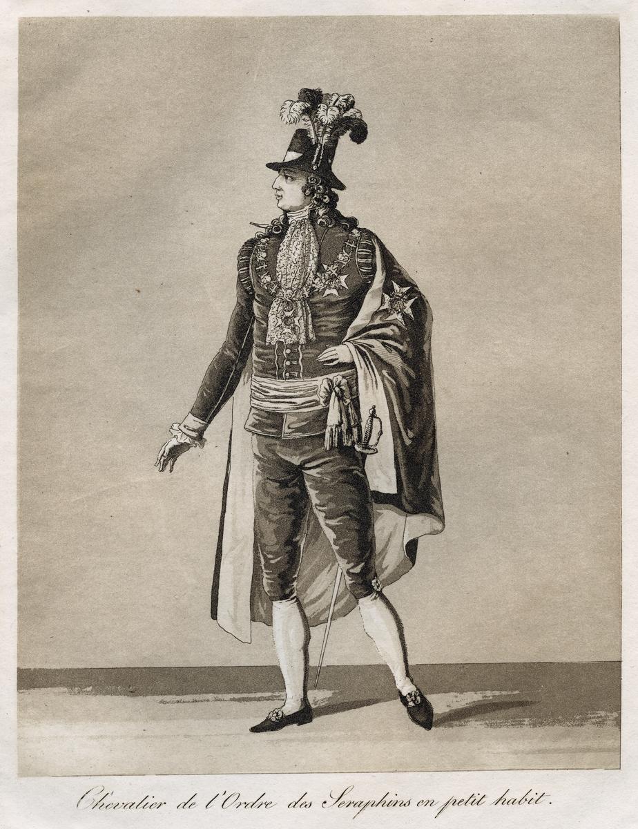"""""""Chevalier de l'Ordre des Seraphins en petit habit."""" Lilla Serafimerdräkten. Akvatint trol. av J A Aleander, 1780-tal."""