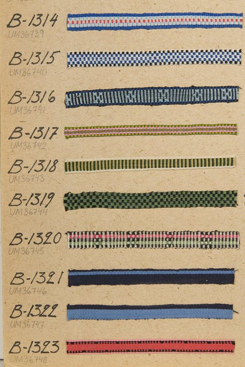 Vävprov av mönstrat band i grönt, gult och beige. Bandet är vävt i rips och det har nummer B.1318.
