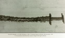 Sverd fra vikingtida funnet på Byremosanden i Grindheim, senere Audnedal.