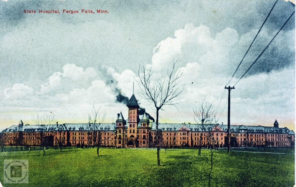Postkort av Sykehus i Fergus Falls, Minnesota i USA.