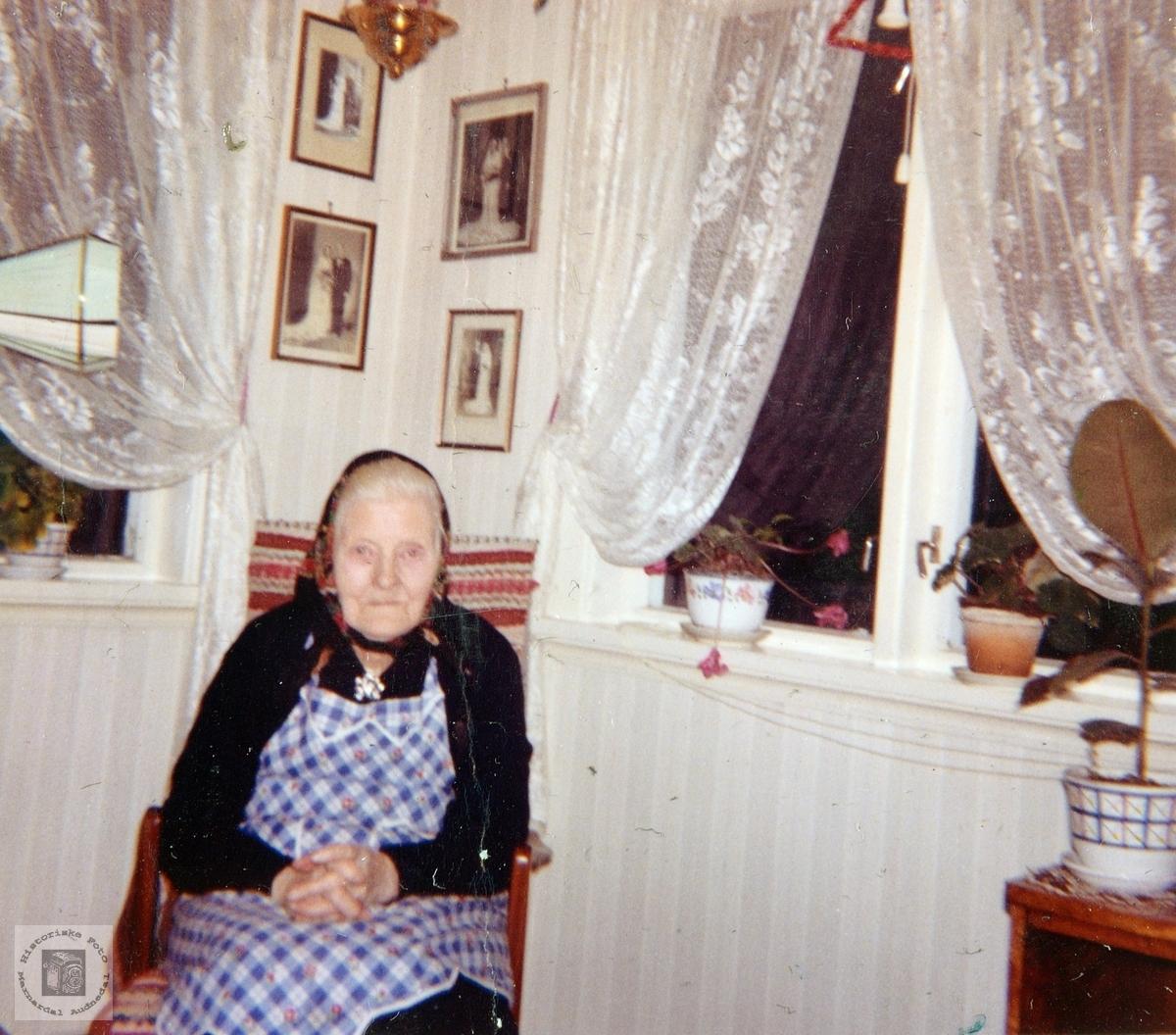 Portrett av Guri Ubostad på 90 årsdagen. Grindheim.