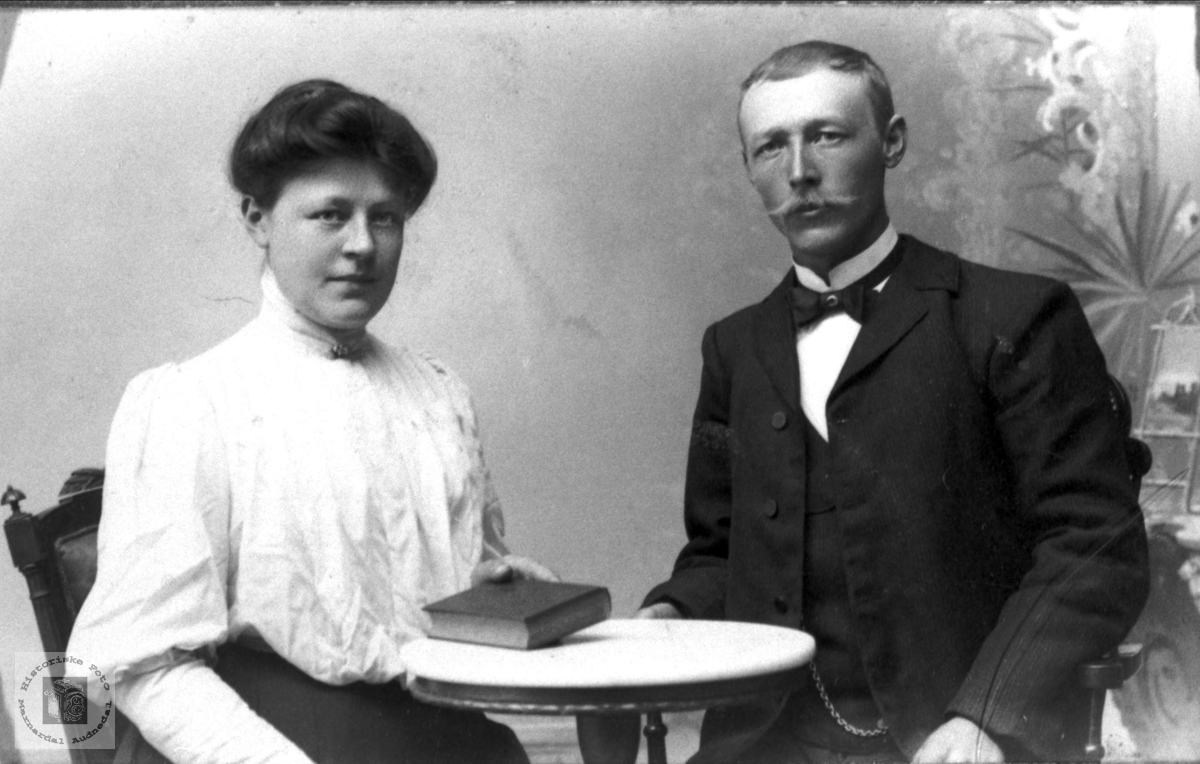 Portrett av ekteparet Anna og Nils Haugland, Bjelland.