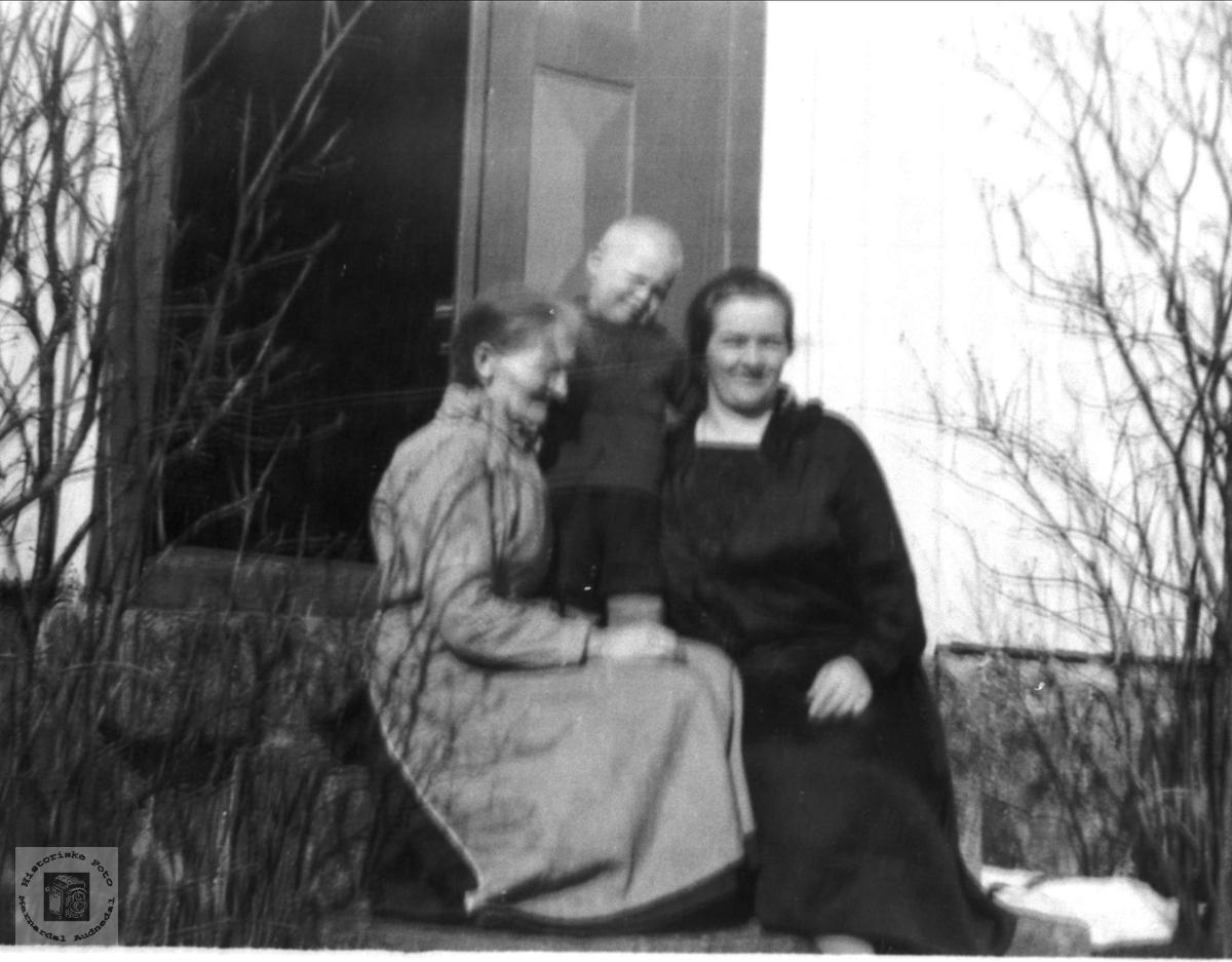 Portrett Kari, Sverre og Anna Homme, Bjelland.