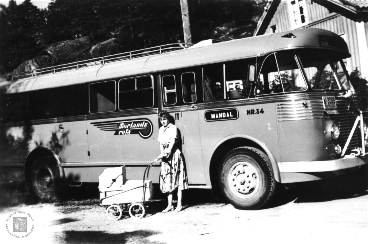 En av Sørlandsrutas mjølkebiler i 1955.
