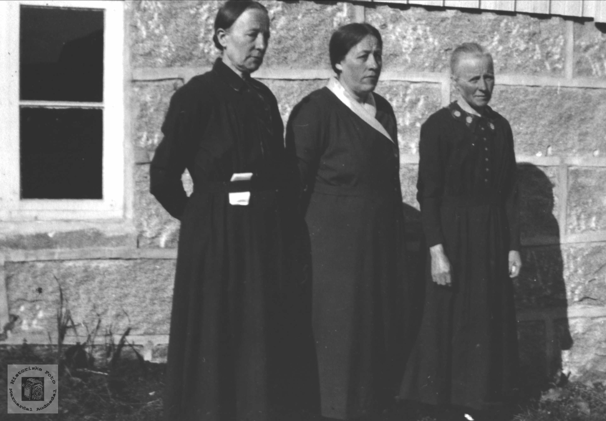 Portrett av søstrene Guri, Anne og Siri Bjerland, Bjelland.