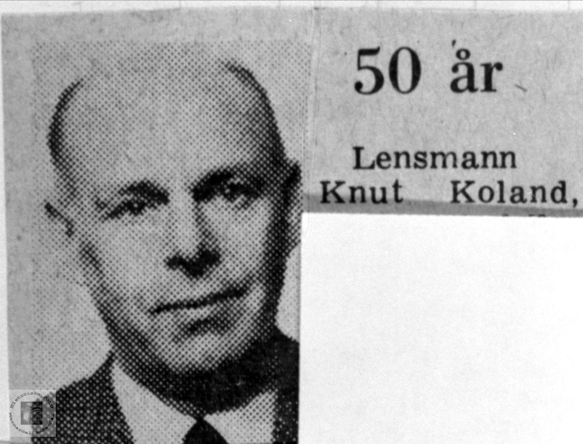 Portrett av Knut Koland, Bjelland.