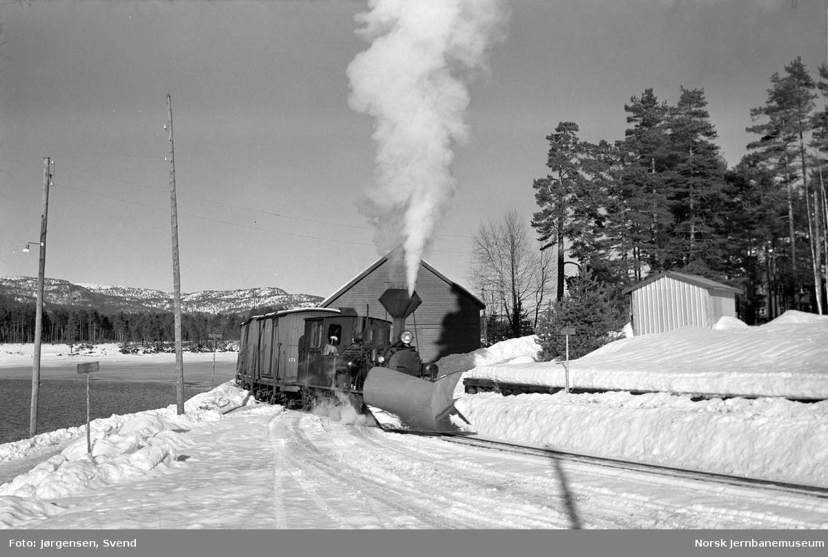 Damplokomotiv skifter på Byglandsfjord stasjon