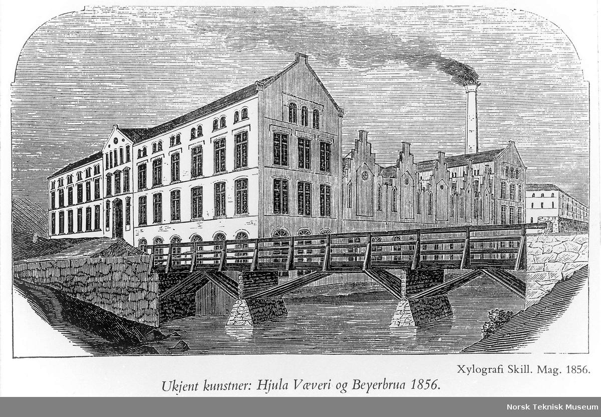 Tegning av Hjula Væveri og Beyerbroen : til høyre skimtes Nedre Vøiens kornmølle