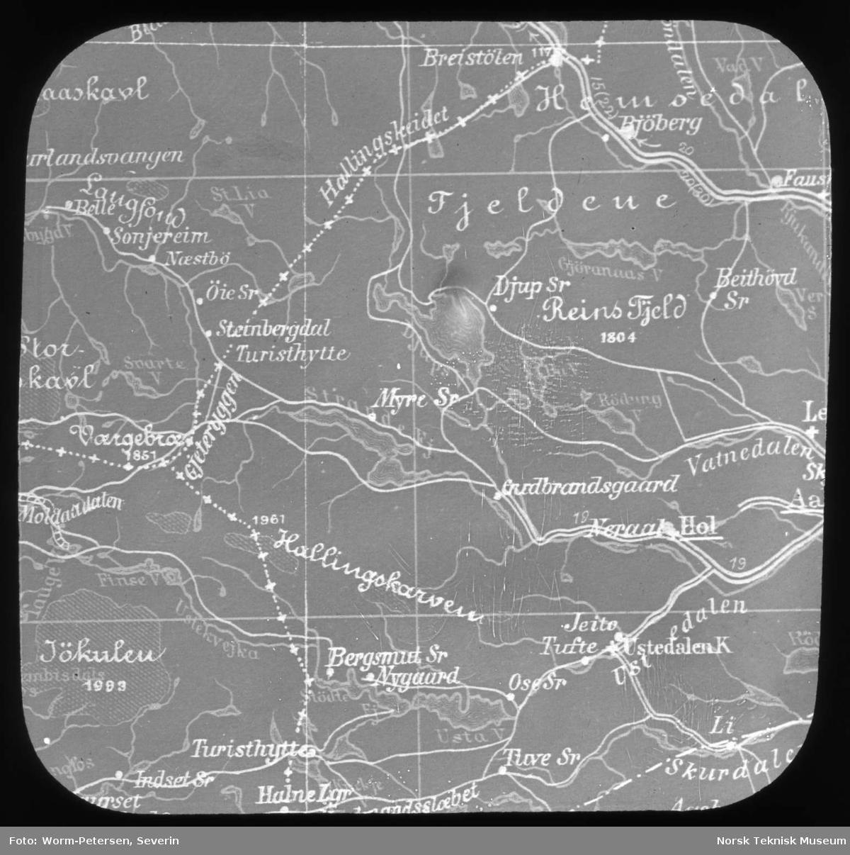 kart over bergensbanen Avfotografert kart over Bergensbanen   Norsk Teknisk Museum  kart over bergensbanen