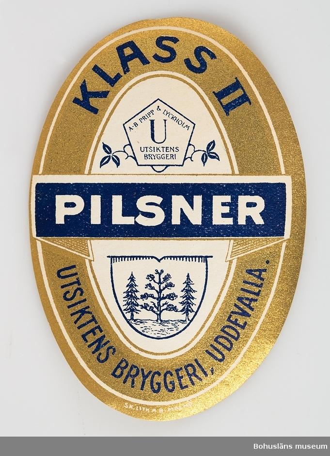 Pilsneretikett Klass II från Utiktens Bryggeri.