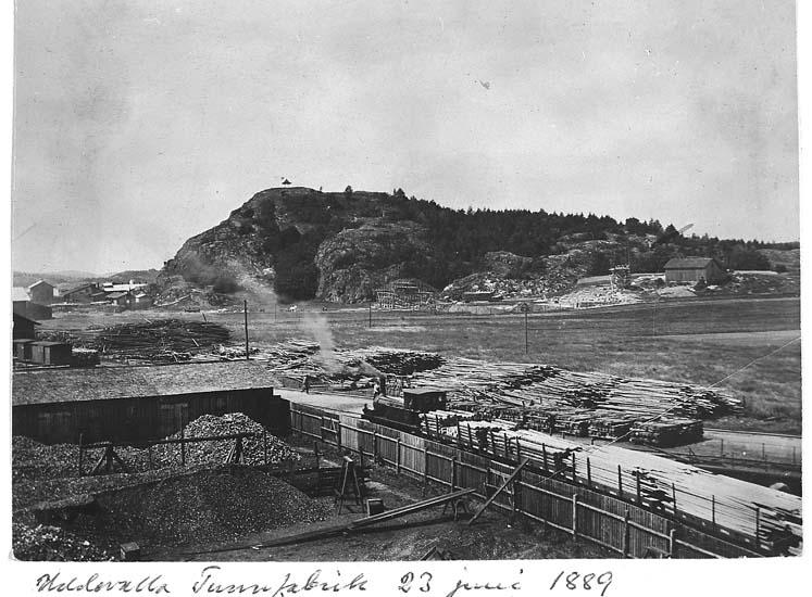 """Text på kortet: """"Uddevalla Tunnfabrik 23 juni 1889""""."""