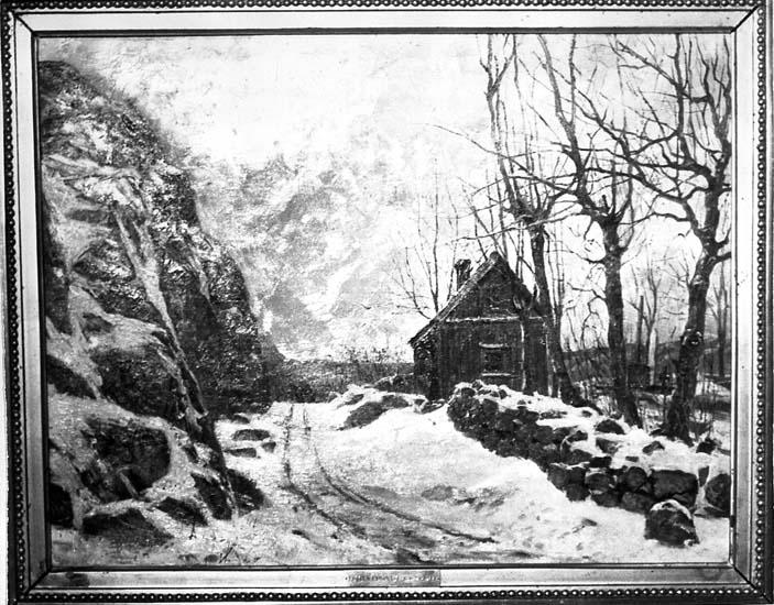 Vid Östra kyrkogården och vägen till Tureborg, Uddevalla. Foto av målning av Lotten Rönquist (1864 - 1912).