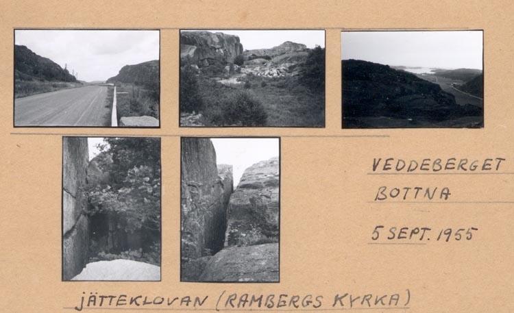 """Noterat på kortet: """"VEDDEBERGET BOTTNA. 5 Sept 1955"""". """"JÄTTEKLOVAN (RAMBERGS KYRKA)""""."""
