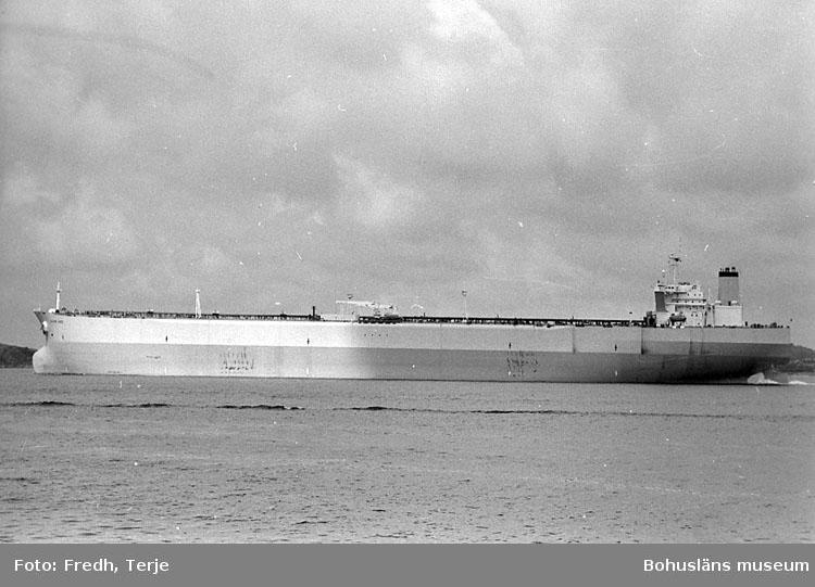 """Enligt fotografens notering: """"Supertankern """"Bloom Lake"""" 350 000 ton Brofjorden 1991""""."""