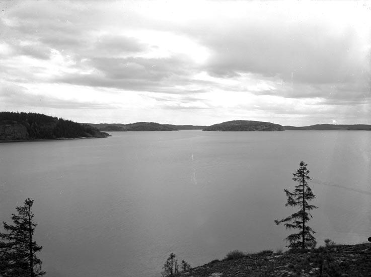 """Text som medföljde bilden: """"1950 No. 9. Utsikt öfer Gullmarsfjorden från Röds Gård i Foss socken, vid sjöstranden."""""""