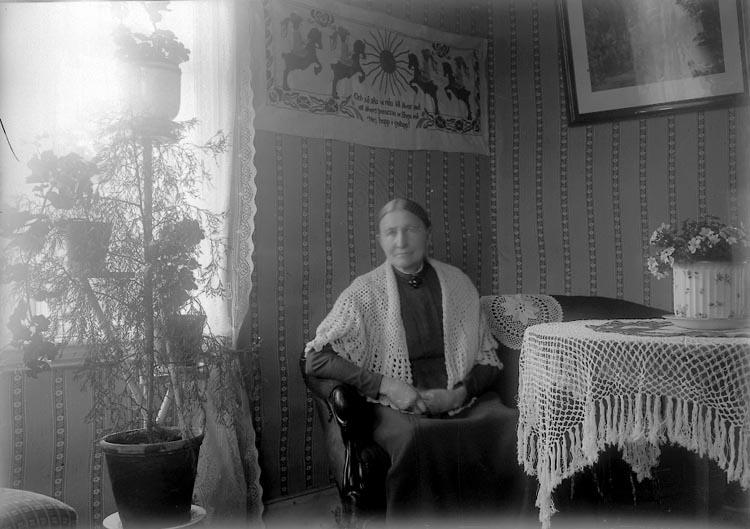 """Enligt fotografens journal nr 2 1909-1915: """"Josefsson, Fru, Vestergård""""."""