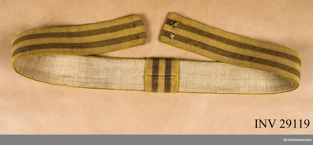 Grupp C I. Ur uniform för manskap vid K. Västgöta regemente 1822-1835.7. Skärp, fastställt enligt g.o 11/9 1824 (armén allmänt)Skärpet inköpt 1878.