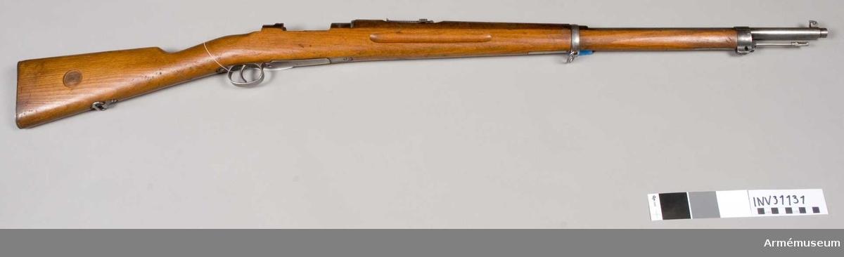 Samhörande nr är 31131-6, gevär, bajonett, balja, rem, mynninshylsa, viskare. Grupp E II.