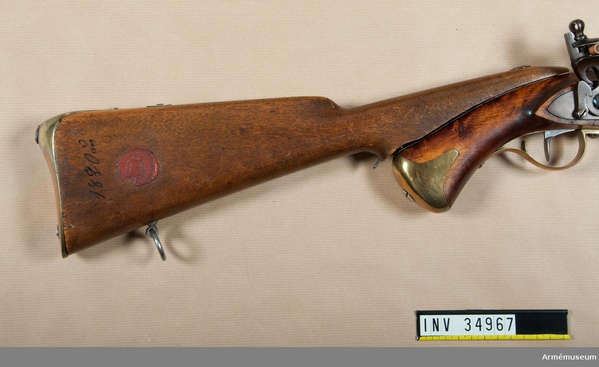 Grupp E III c. Löskolv till studsarepistol m/1820 med flintlås. LITT  Alm: Arméns eldhandvapen tab 5:18.