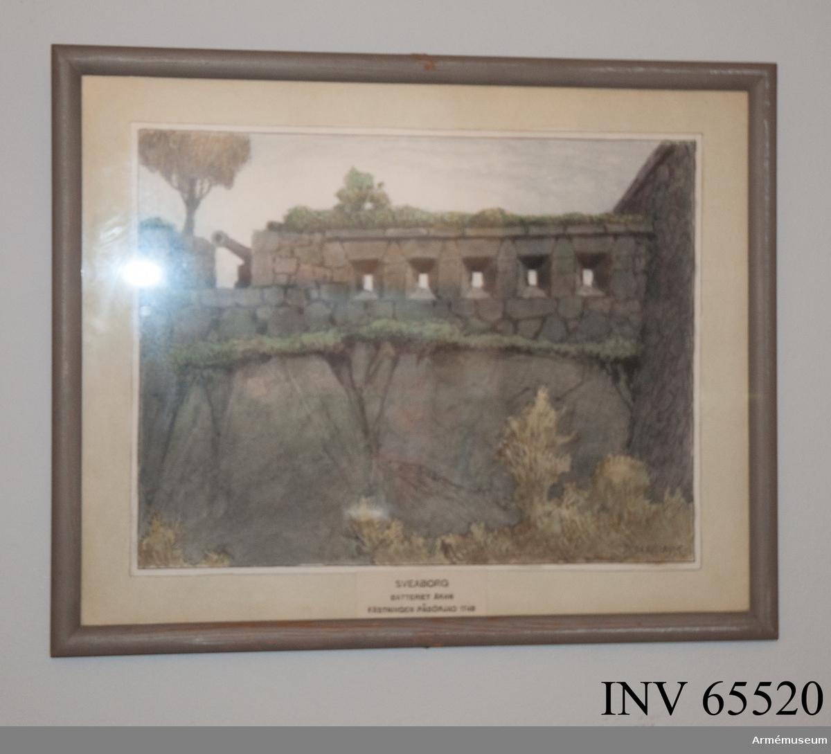 Grupp M I. Akvarell av arkitekten Ferdinand Boberg föreställande Sveaborg med batteriet Åran.