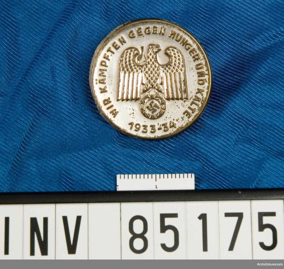 Medalj för hjälparbetare under 1933-34 års tyska hungersnöd.