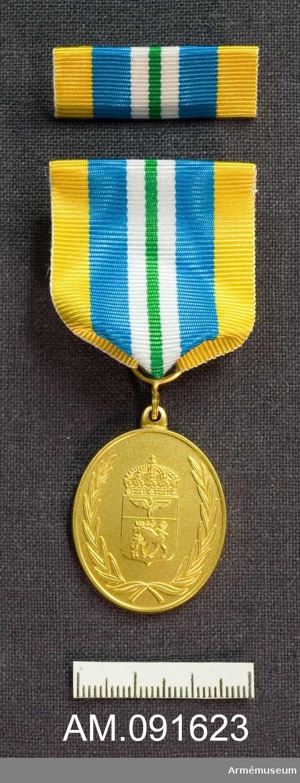 Etui innehållande medalj i guld samt släpspänne.  Märkt på framsidan med Jämtlands flygflottiljs vapen. På frånsidan finns årtalen samt text. Band i gult med ett grönt streck på mitten åtföljt på båda sidor av först en vit rand därefter en bredare blå rand.