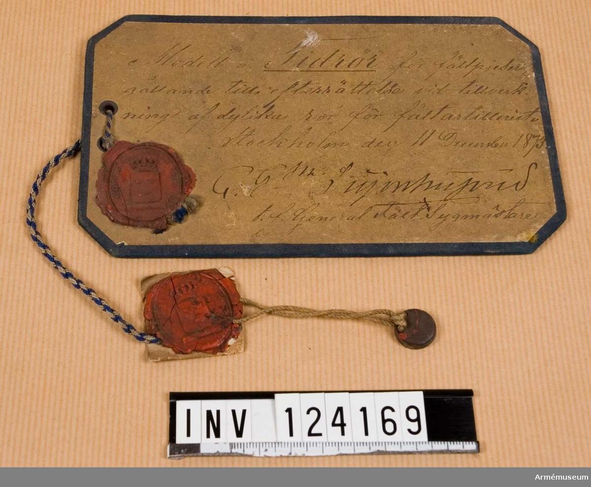 Modelletikett till tidrör m/1873