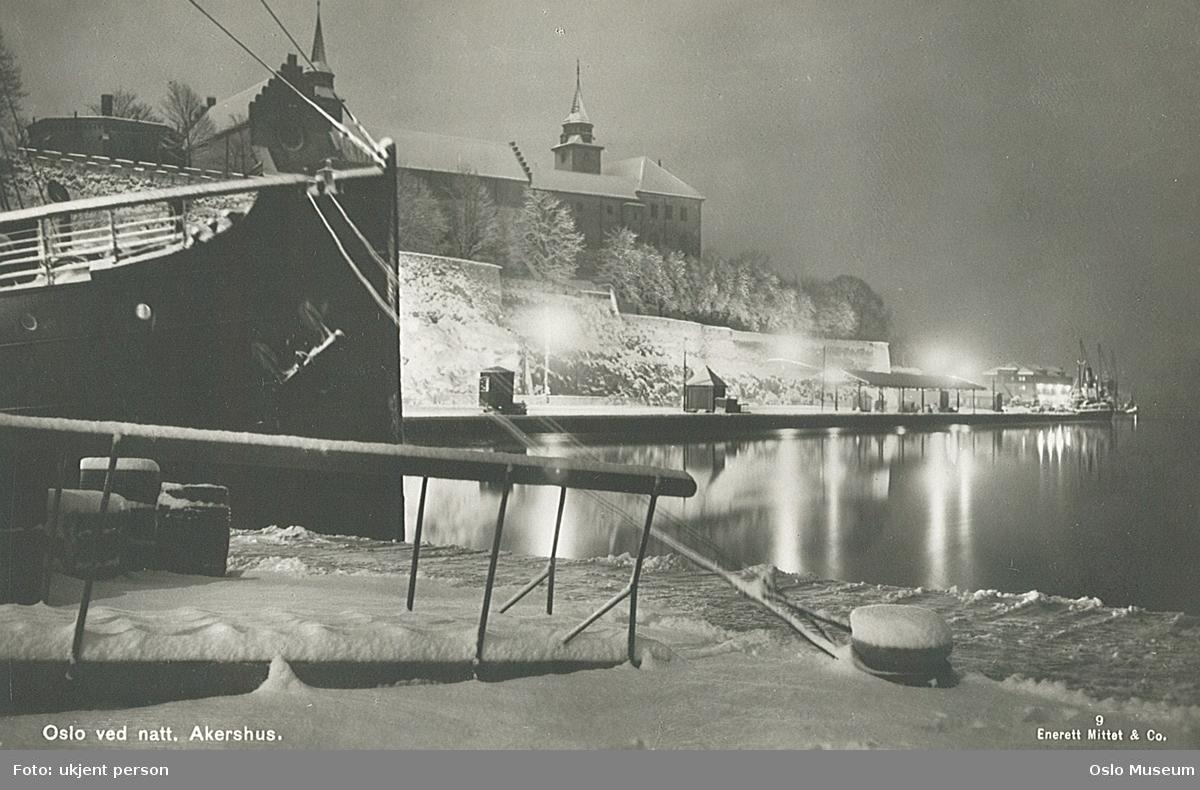 havn, fjord, skip, Akershus festning, nattemørke, snø