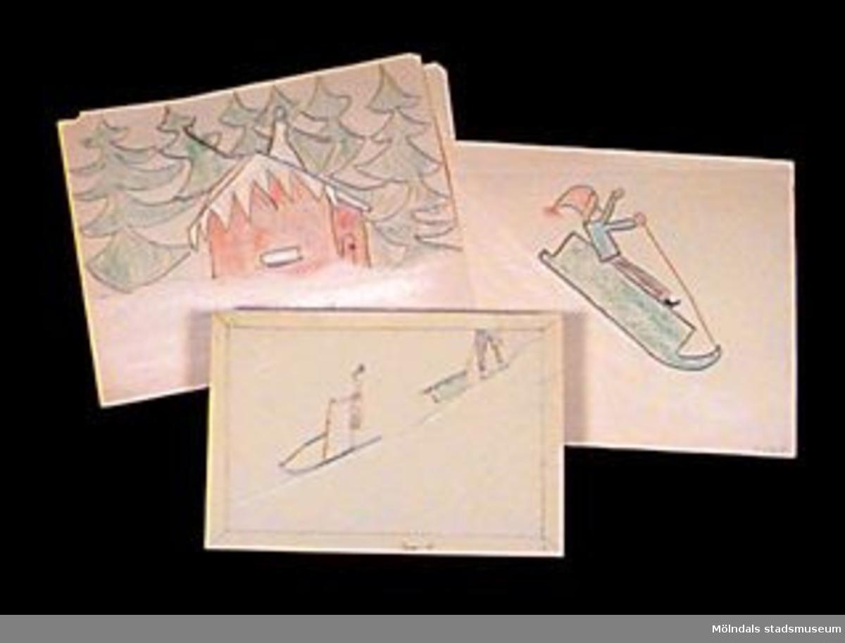 Teckningar med vintermotiv. Målat med blyerts och krita.Givaren gick hela sin skoltid i Toltorpsskolan.