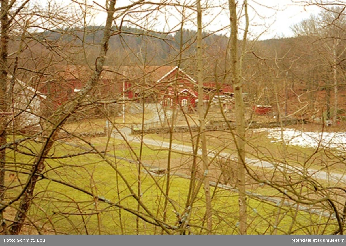 Vy fotograferad genom kvistar, där man ser ladugård/ekonomibyggnader samt delar av ett bostadshus till vänster, tillhörande Gunnebo slott.