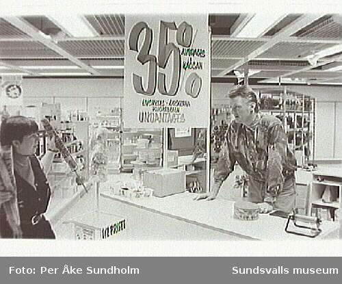 Varuhuset Forum,Storgatan 28, Sundsvall, inför nedläggningen 1995-01-28
