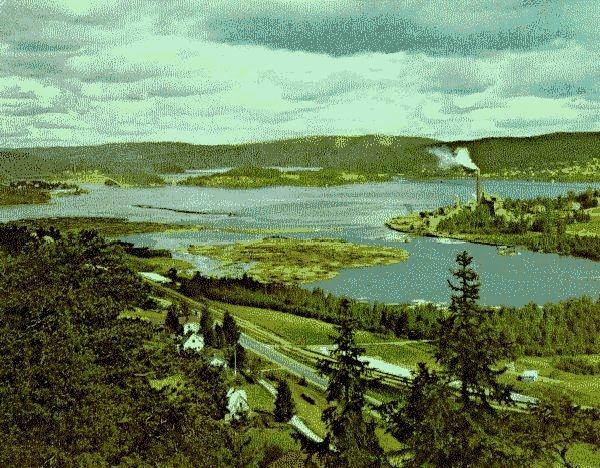 Ångermanälven med Sandöbron, Svanö fabriken och Klockestrand. I förgrunden Sprängsviken med Nensjö fabrik.