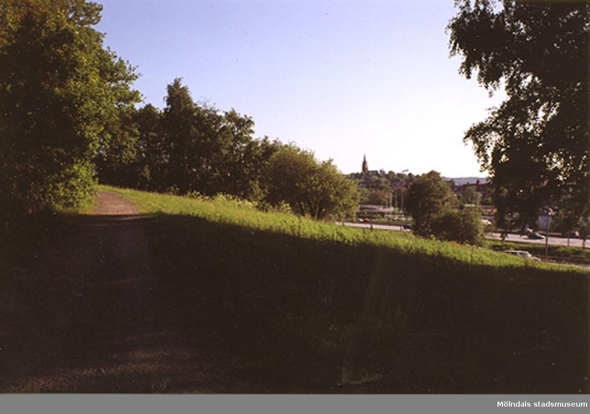 Äng vid Ekekullen med utsikt mot Fässbergs kyrka som skymtar i bakgrunden. Järnvägsgatan ligger nedanför ängen.