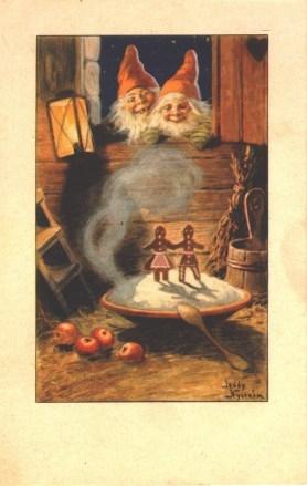 Motiv: tomtar som tittar in i en stuga på ett stort fat med rykande gröt. I gröten är ett par pepparkaksgubbar placerade och vid sidan om grötfatet ligger några äpplen.