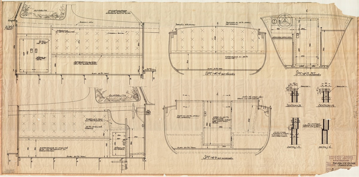 Inredningsritning i profil, plan och sektioner