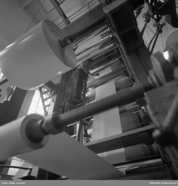 Man i arbete vid glätt nr 6 på Papyrus i Mölndal, 3/6 1955.