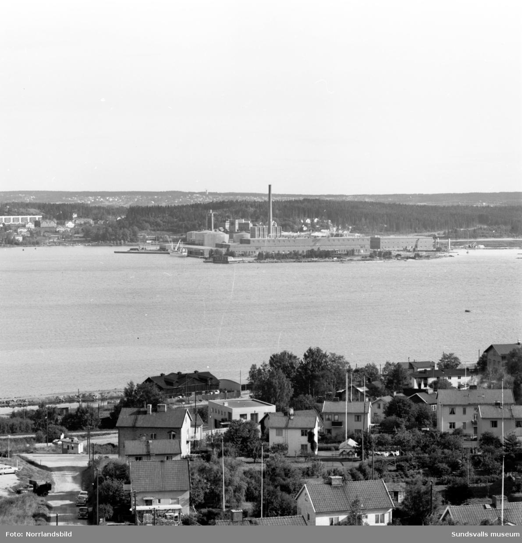 Utsikt över Sundsvall åt olika håll från höghuset på Skönsmon.