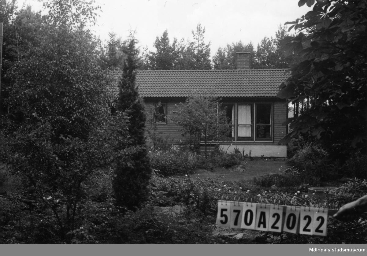 Byggnadsinventering i Lindome 1968. Annestorp 6:33. Hus nr: 570A2022. Benämning: permanent bostad och redskapsbod. Kvalitet, bostadshus: mycket god. Kvalitet, redskapsbod: god. Material: trä. Tillfartsväg: framkomlig. Renhållning: soptömning.