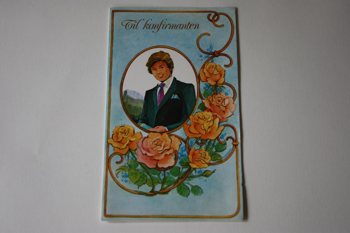 Oval innråming av konfirmant, omkransa av roser