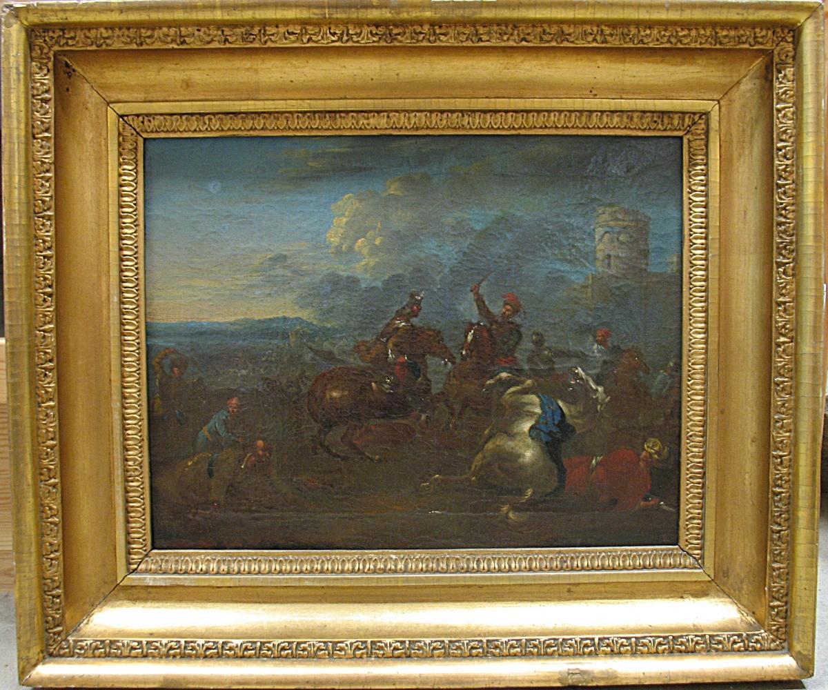 Inramad tavla med guldram. Målning med motiv: Bateljstycke i Rugendas manër.