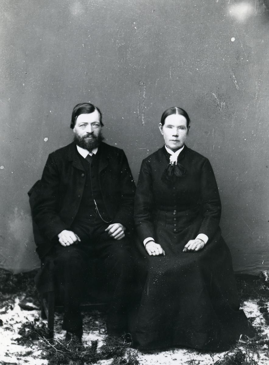 Mann og kvinne, sittende, lerretbakgrunn