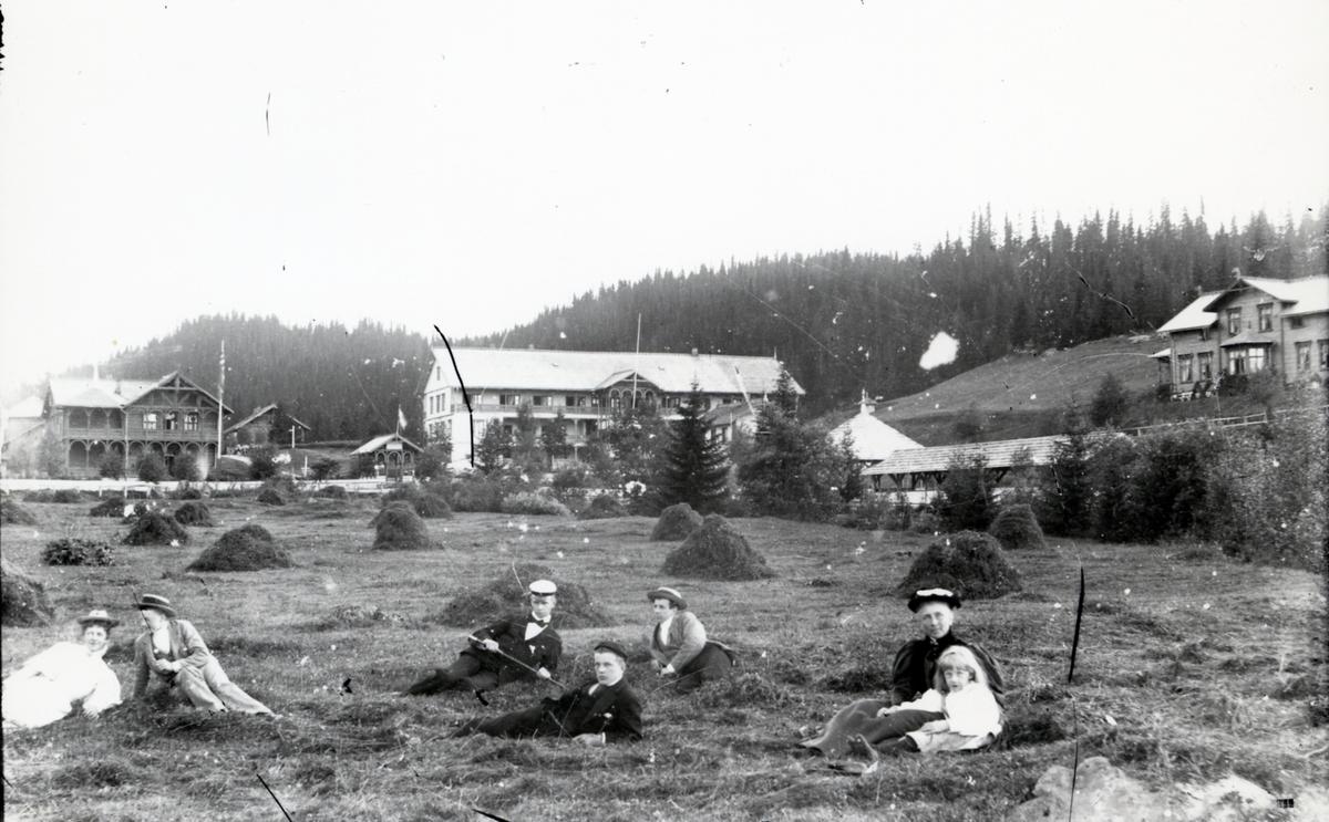 Mennesker i gresset ved Tonsåsen Sanatorium