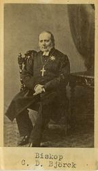 """Text på kortets baksida: """"Biskop Gustaf Daniel Björck. Bisk"""